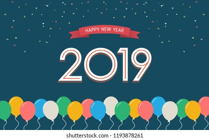 Happy new year 2019 with floating party balloon and ribbon in flat icon design on blue color background