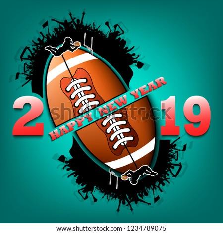 Happy New Year 2019 Football Ball Stock Vector Royalty Free