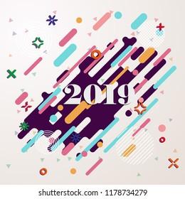 Happy New Year 2019 Geometric background