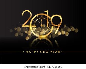Happy New Year 2019 with glitter isolated on black background, text design gold colored, vector elements for calendar and greeting card.