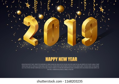 happy new year 2019 gold letters