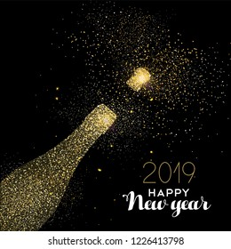 Happy new year 2019 gold champagne bottle celebration made of realistic golden glitter dust. Ideal for holiday card or elegant party invitation.