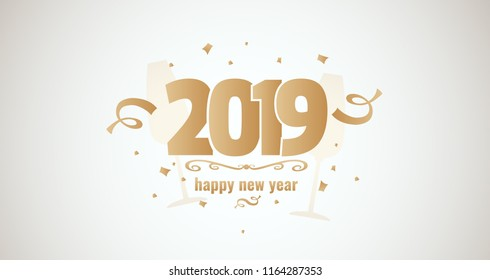 Happy new year 2019. Golden vector illustartion with serpantine and confetti on light backround