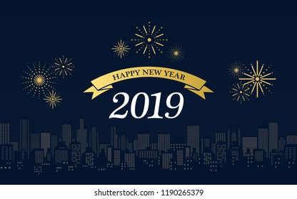 happy new year 2019 in golden ribbons with fireworks and city skyline at night on dark blue color background
