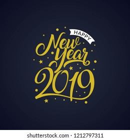 Happy New Year 2019 golden typography. Greeting card design with hand lettering winter holidays. Vector Illustration