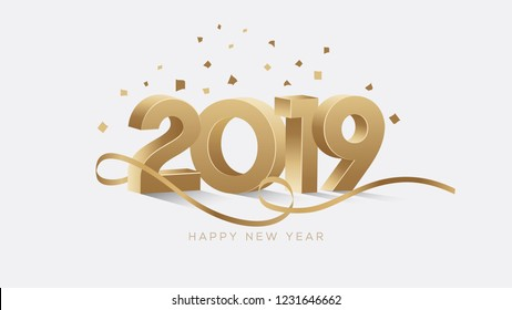 Happy New Year 2019. Golden 3D Numbers With Confetti On a White Background.