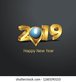 Happy New Year 2019 Golden Typography with Sakha Republic Flag Location Pin. Country Flag  Design
