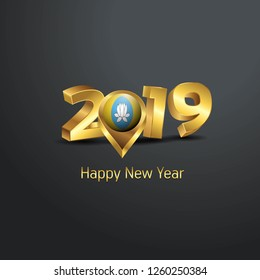Happy New Year 2019 Golden Typography with Kalmykia Flag Location Pin. Country Flag  Design
