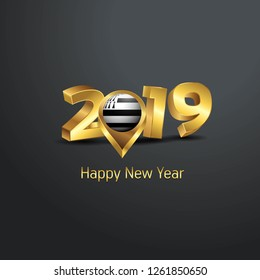 Happy New Year 2019 Golden Typography with Brittany Flag Location Pin. Country Flag  Design