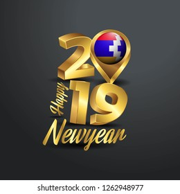 Happy New Year 2019 Golden Typography with Nagorno Karabakh Republic Flag Location Pin. Country Flag  Design