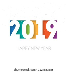 Happy new year 2019. Greeting card or calendar cover design template. Cover of business diary for 2019 with wishes. Vector background.