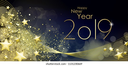 Happy New year 2019 greeting card vector