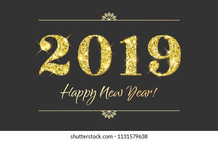Happy New Year 2019 greeting card of glitter gold Christmas confetti on vector premium black background