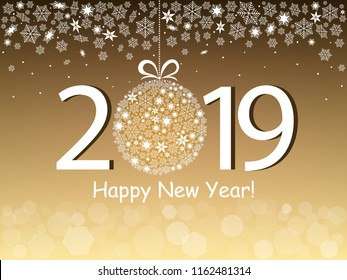 Happy New Year 2019 greeting gold design. Vector illustration with text, snowflakes and bokeh light