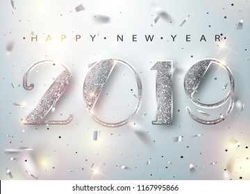 Happy New Year 2019 Greeting Card with Silver Numbers and Confetti Frame on White Background. Vector Illustration. Merry Christmas Flyer or Poster Design. Vector 10 EPS