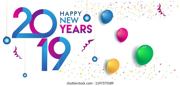 Happy new year 2019 Greeting card, 2019 modern logotype with balloon and confetti, vector illustration