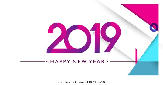 Happy new year 2019 Greeting card, 2019 modern logotype with geometric background, vector illustration