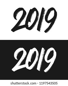 Happy New Year 2019 greeting card template. Handwritten calligraphy number isolated on black and white backgrounds. Vector illustration for chinese year of the pig.
