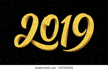Happy New Year 2019 greeting card design with gold 3D typography on black background with glitters. Calligraphy for chinese year of the pig. Vector illustration