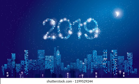 Happy New Year 2019 greeting card. City Lights. Vector illustration of city with lighting windows, the moon, and houses in winter time. Holidays concept.
