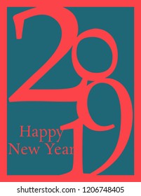 Happy New Year 2019 greeting card with paper cut effect of color multilayer vector numbers for Christmas holiday celebration background