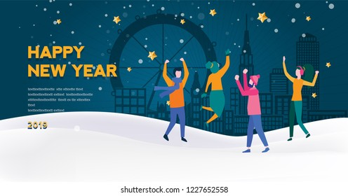 Happy New Year 2019 greeting card. City Lights with tiny people. concept of 2019 - year of opportunities. vector landing page template. China people in London and New York. New year party.