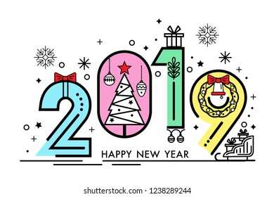 happy new year 2019 greeting card or banner minimalist style modern thin contour line