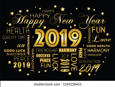 Happy New year 2019 greeting card - tagcloud