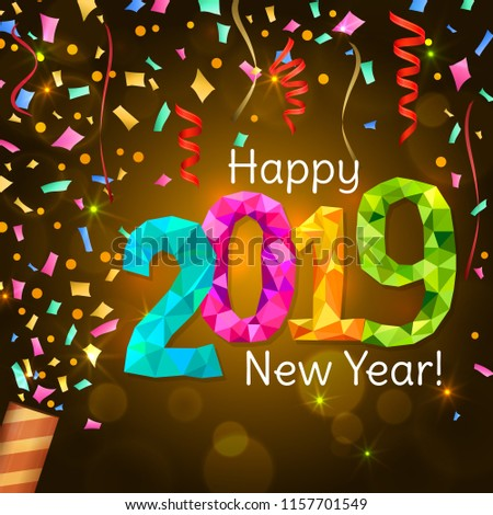 happy new year 2019 greeting banner festive background with colorful confetti party popper and