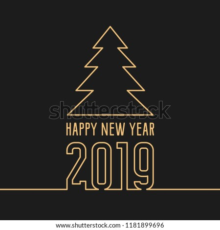happy new year 2019 greeting card golden text and number on dark black background