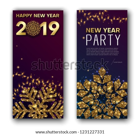Happy New Year 2019 Greeting Card Stock Vector Royalty Free