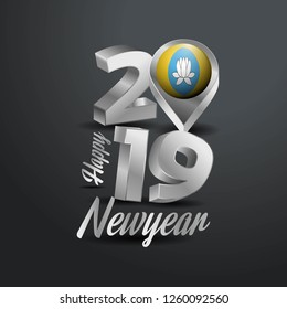 Happy New Year 2019 Grey Typography with Kalmykia Flag Location Pin. Country Flag  Design