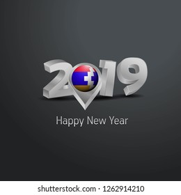 Happy New Year 2019 Grey Typography with Nagorno Karabakh Republic Flag Location Pin. Country Flag  Design