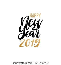 Happy New Year 2019, hand lettering. Vector illustration. Decorative design on white background for greeting card, poster concept.