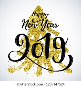 Happy New Year 2019 hand drawn lettering on a white background. Winter Holidays greeting card design. EPS 10 file.