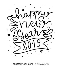 Happy New Year 2019. Hand drawn modern brush lettering. Christmas lettering typography for holiday greeting card.