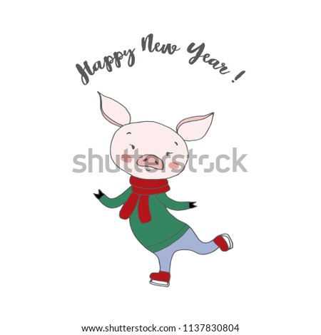 Happy New Year 2019 Hand Drawing Stock Vector Royalty Free