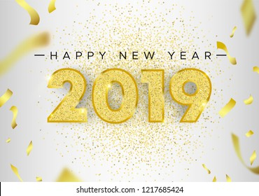 Happy New Year 2019, holiday luxury greeting card illustration with number typography made of gold glitter and party confetti on white background.