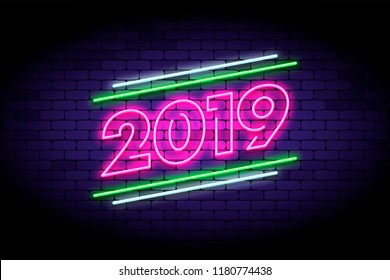 Happy New Year 2019 illustration in colorful trend neon style. Luminous neon number 2019 on the wall. Vector illustration for web or print adverts for new year celebrating.
