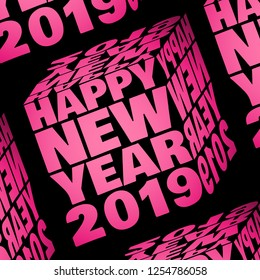 Happy New Year 2019 inside a pink cube  - 3D design background