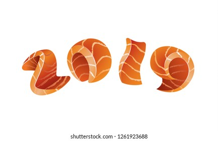 Happy New Year 2019 isolated text design. Salmon style numbers for sushi calendar background.