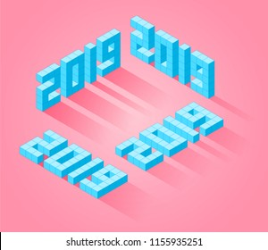 The Happy New Year 2019 isometric number set. The 3d template for greeting cards, posters, banners, typography. The 2019 digits in a modern creative style. Flat vector isometric concept illustration.