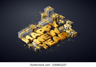 happy new year 2019 isometric objects