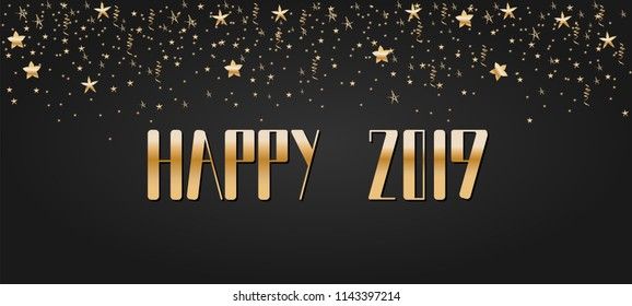Happy New Year 2019 lettering. Bright and festive greeting card, golden confetti.
