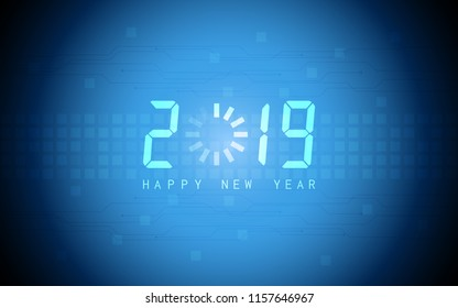 Happy new year 2019 with loading icon on abstract technology and blue color background