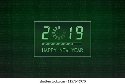 happy new year 2019 with loading bar icon on abstract digital binary code and green color background