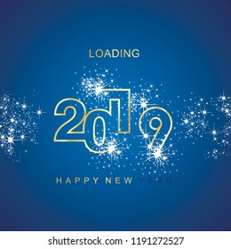 Happy New Year 2019 loading spark firework gold blue vector logo banner line design greeting card