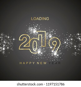 Happy New Year 2019 loading spark firework gold black vector logo icon