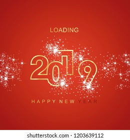 Happy New Year 2019 loading spark firework gold red vector logo icon