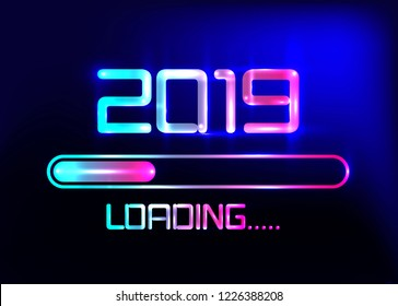 Happy new year 2019 with loading icon blue neon style. Progress bar almost reaching new year's eve. Vector illustration with 2019 loading. Isolated or dark light blue background
